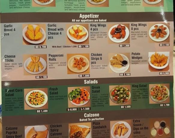 منيو مطعم Pizza King بيتزا كينج